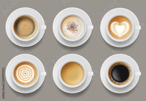 Coffee mug top view. Cappuccino espresso latte milk brown coffee vector realistic template. Cappuccino and latte, espresso coffee illustration