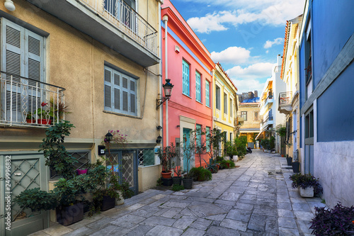 Athens - nice old street with acropolis view, Greece