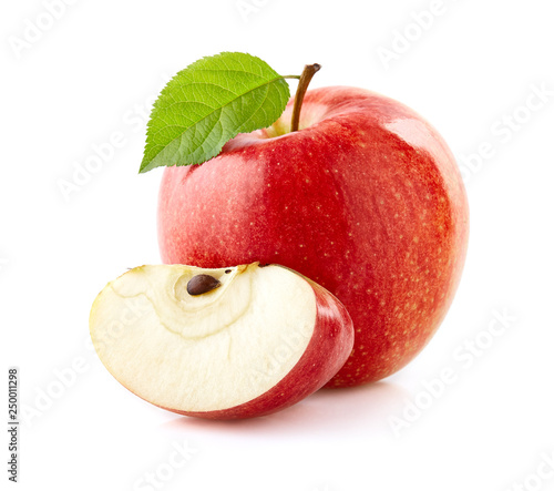 Red apple with leaf isolated on white © Dionisvera