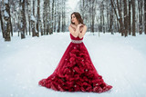 girl in red dress in winter forest