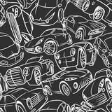 Seamless pattern with handwritten cars. Vector illustration.