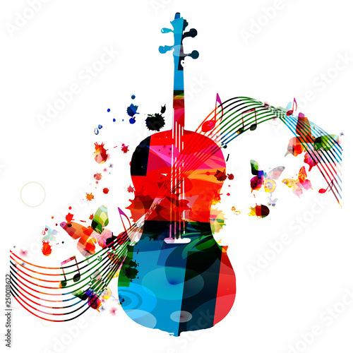 Colorful violoncello with music notes isolated vector illustration design. Music background. Music instrument poster with music notes, festival poster, live concert events, party flyer © abstract