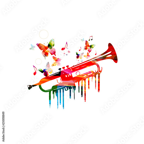 Colorful trumpet with music notes isolated vector illustration design. Music background. Music instrument poster with music notes, festival poster, live concert events, party flyer © abstract