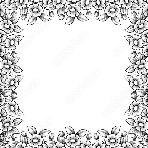 Square daisy outline frame - 250022483