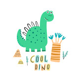 Fototapeta Dinusie - Cute cool dino. Cartoon creative dinosaur vector illustration in scandinavian style. Vector Illustration. Can be used print print for t-shirts, home decor, posters, cards. © bukhavets