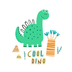 Cute cool dino. Cartoon creative dinosaur vector illustration in scandinavian style. Vector Illustration. Can be used print print for t-shirts, home decor, posters, cards.