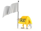 Taxi character holding blank flag - 250023685
