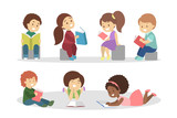 Children read book set. Collection of kid