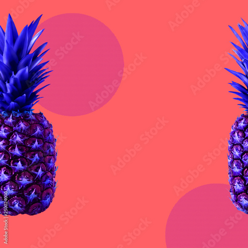Art collage with copy space in zine concept Asymmetric abstract background with pineapple, circles and dotted elements in bright blue, pink and coral colors Poster template with copy space - 250024000