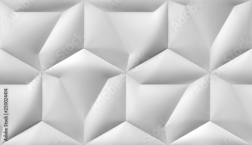 White soft tiles design hexagon 3d panels. High quality seamless realistic texture. © GeoModule