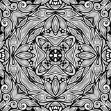 Monochrome Seamless Pattern with Floral Ethnic Motifs