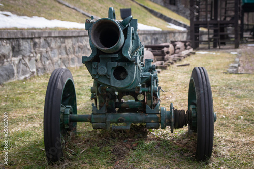 Old rustic cannon from world war two. Region of Tara mountain in Serbia. © Milan