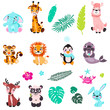 Big set isolated animals. Vector collection funny animals. Cute animals: forest, polar in cartoon style. Giraffe, elephant, crab, rabbit, panda, llama, lion, tiger