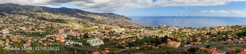 Beautiful panoramic cityscape of the skyline of the city Funchal on the island Madeira in summer - 250038633