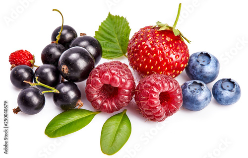 Set fresh berry. Mix summery fruit raspberry strawberry currant blueberry and wild strawberry with green leaf still life, isolated on white background. - 250040679