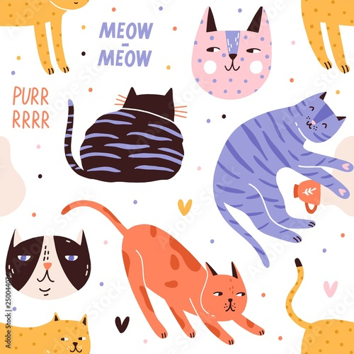 obraz lub plakat Seamless pattern with sleeping, playing, hunting cats or kittens and their muzzles. Backdrop with adorable pet animals on white background. Flat vector illustration for textile print, wrapping paper.