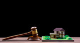 model house, judge's gavel on wooden background. purchase, sale of real estate - 250045866