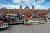 City scenic from Amsterdam in the Netherlands with the Central Station - 250054839