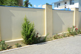 House stone fence with stucco, roses bush and juniper tree - 250060019