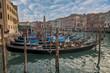 Quadro Gondola parked at Grand Canal in Venice, Italy