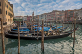 Gondola parked at Grand Canal in Venice, Italy