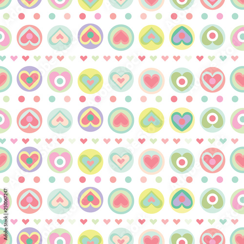 Vector of seamless pattern with heart shapes colored in pastel. Design for textile, fabric