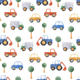 Watercolor baby car vehicle vector pattern