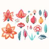 Watercolor floral vector set - 250069064