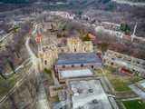 Aerial view ruins of The capital city of the Second Bulgarian Empire medieval stronghold Tsarevets, Veliko Tarnovo, Bulgaria - Image