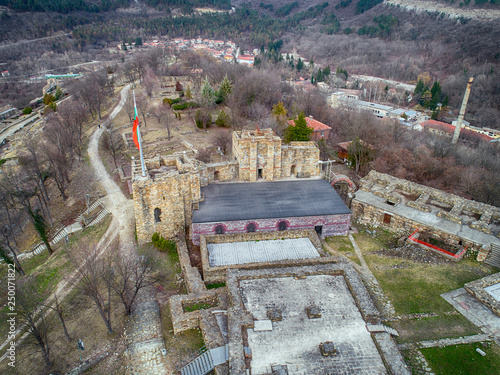 Aerial view ruins of The capital city of the Second Bulgarian Empire medieval stronghold Tsarevets, Veliko Tarnovo, Bulgaria - Image © todor