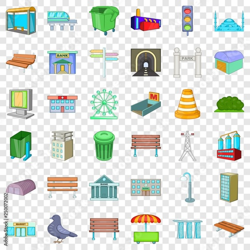 Big city icons set. Cartoon style of 36 big city vector icons for web for any design