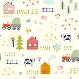 Seamless pattern with village landscape