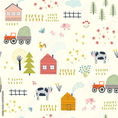 obraz lub plakat Seamless pattern with village landscape