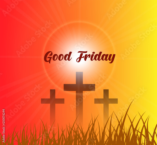 Good Friday & Easter day. Vector illustration of Jesus Christ's crucifixion and Resurrection. © swapnacreative