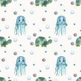 watercolor pattern on the marine theme