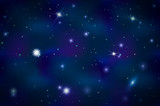 Blue deep space background with bright stars and constellations