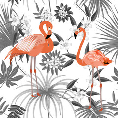 Tropical vector seamless pattern with flamingo.