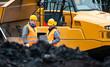 Leinwandbild Motiv Arbeiter im Tagebau schauen auf einen Plan