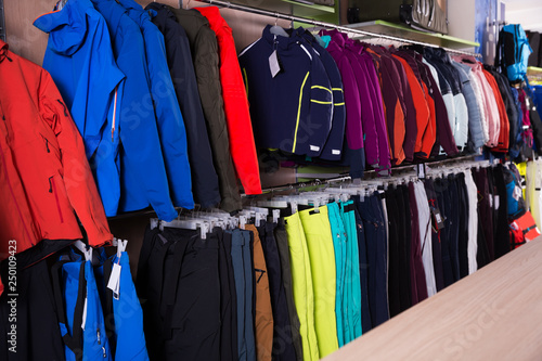 Winter sport clothing in shop