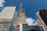 Looking up at what use to be the tallest building in the works downtown Chicago