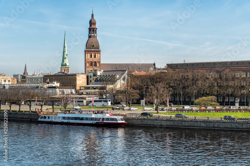View of Old Town Riga from Daugava river side, Latvia