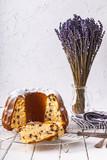 freshly baked gugelhupf on a white background