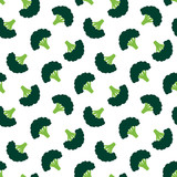 Vector seamless pattern background with raw green broccoli. - 250128289