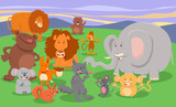 cartoon wild animal characters group