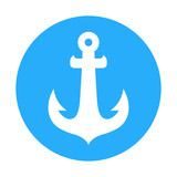 Vector icon sign with anchor of ship. Round Blue color illustration isolated on white. Flat emblem for decoration of tours, design of stickers, labels and element of logotype.