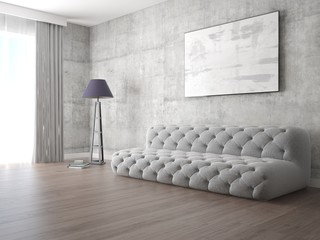 Mock up bright living room with original stylish sofa and trendy hipster backdrop.