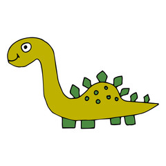 Cartoon doodle linear dinosaur, stegosaurus isolated on white background. Vector illustration.   © _aine_