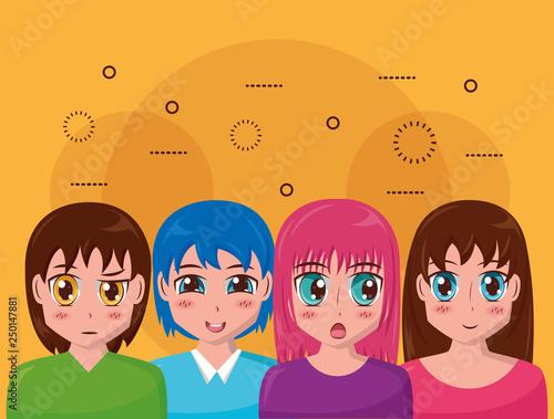 anime girl group manga comic - 250147881