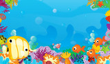 cartoon scene with coral reef with happy and cute fish swimming with frame space text - illustration for children