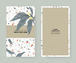 Foliage invitation card template design, white Champaka on marble texture